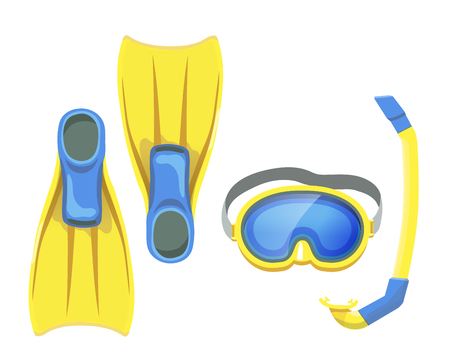 snorkeling: illustration of isolated snorkeling equipment, mask and flippers vector