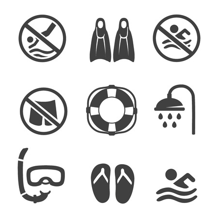 no diving sign: Swimming pool icons,  diving, mask,   flippers and shower. sport icons set