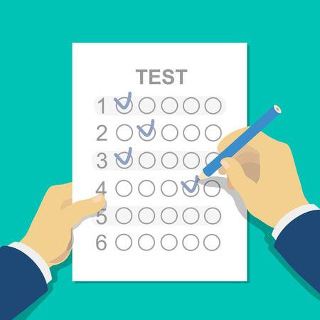 Las respuestas a la prueba del examen hoja de respuestas con lápiz y la mano de los estudiantes. Ilustración vectorial de estilo plano aislado en fondo blanco.