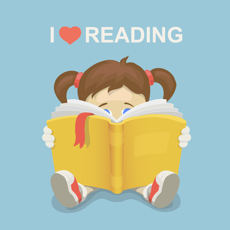 girl in love: Girl kid reading a book. I love reading.  Literacy Day.  Illustration