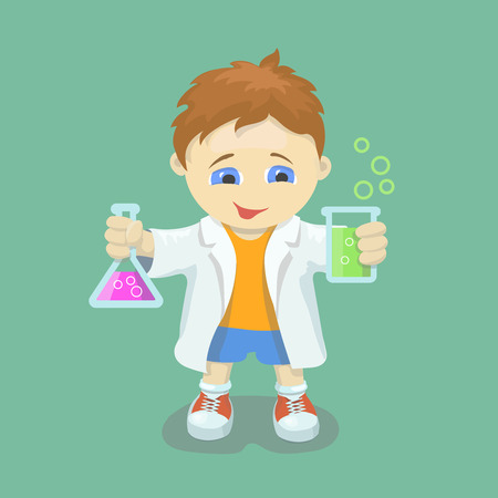 chemical reactions: Boy doing chemical experiment. Young scientist. Kid  holding test flask  in hands.