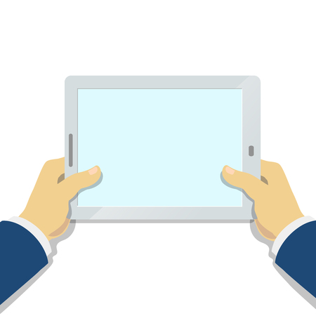 tablet pc in hand: Businessman Hand holding tablet pc with blank screen