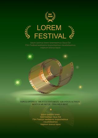 movie poster: Camera film 35 mm roll gold, festival movie poster,  green background, Slide films frame.
