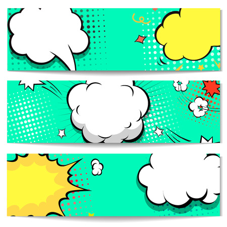 comic background: Bright dotted horizontal comic book style header or banner  set.