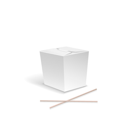 chinese take away container: White Food box,  Container for fast Chinese food, take out noodle box with chopsticks.