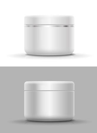クリーム、パウダーやジェルの空白の化粧品容器  イラスト・ベクター素材