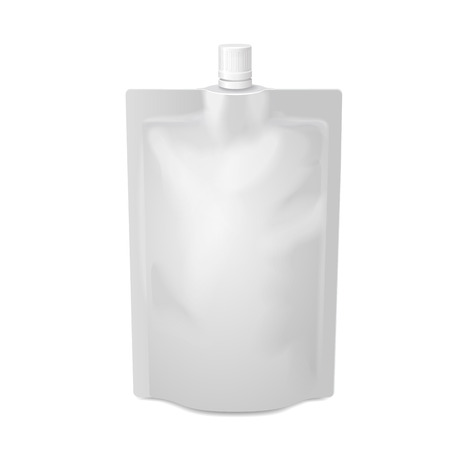 spout: White blank doy-pack foil food or drink bag packaging with spout lid.