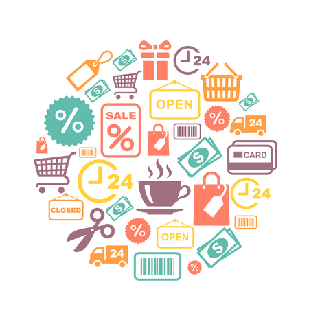 supermarket services: card with shopping  supermarket services colored icons vector illustration Illustration