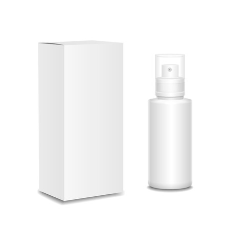 aftershave: Blank cosmetics containers, bottle with package box  Illustration