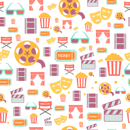 videotape: seamless pattern with retro cinema icons