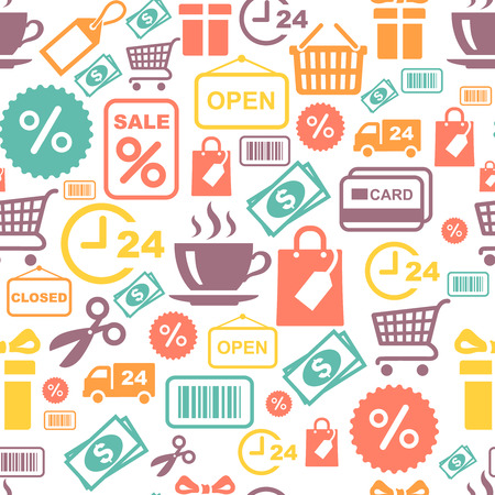 supermarket services: seamless vector background with colorful shopping and supermarket services icons