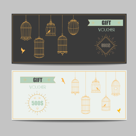 vintage art: Gift certificate voucher coupon template with gold guilloche pattern vector Illustration
