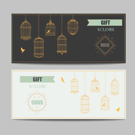 line art: plantilla bono cup�n con l�neas entrecruzadas certificado de regalo de oro vector patr�n