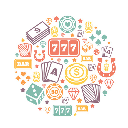 casino chip: Gambling icons set, casino and card,  poker game.