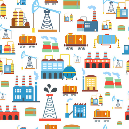 barrel tile: Industrial seamless pattern with oil and petrol icons. Extraction and refinery facilities vector. Illustration