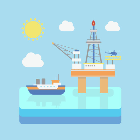 combustible: Drilling rig at sea. Oil platform, gas fuel. Industrial illustration in flat style. Vector