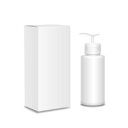 aftershave: White cosmetics containers