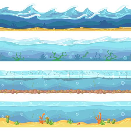 Water waves  or ocean, sea seamless backgrounds set  矢量图像