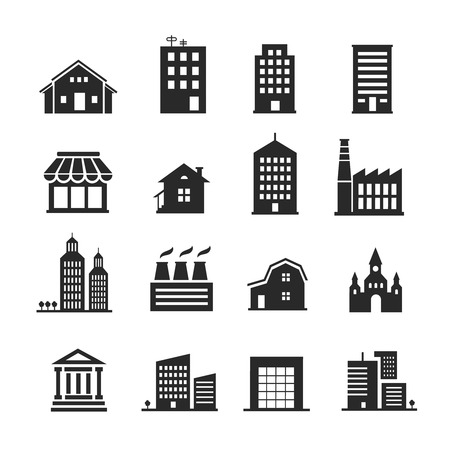 building color: Building  shop icon set one color vector