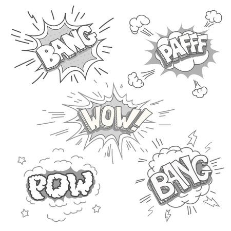 bubble speech: Boom and Comic book explosion set.