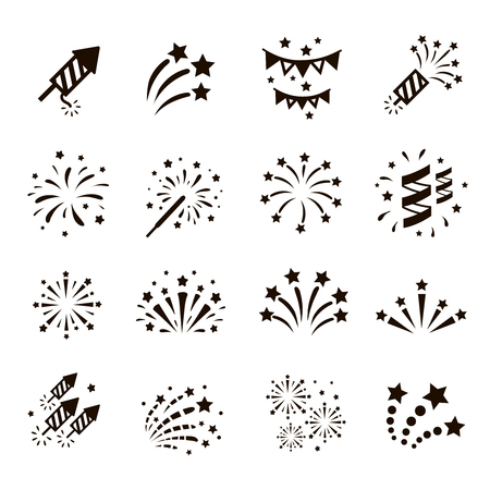 Firework icon set with petard, stars. Festival and event, celebrate and party. Vector Çizim