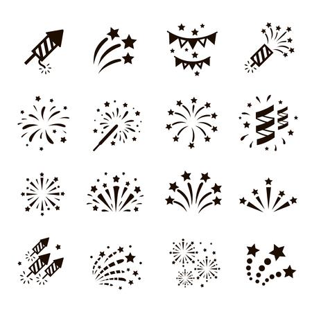 ünneplés: Tűzijáték ikonkészlet petárda, csillagos. Fesztivál és esemény, ünnepelni és fél. Vektor Illusztráció