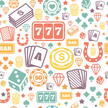 vegas sign: Playing chips and cards seamless pattern. Background vector. Game and casino icons