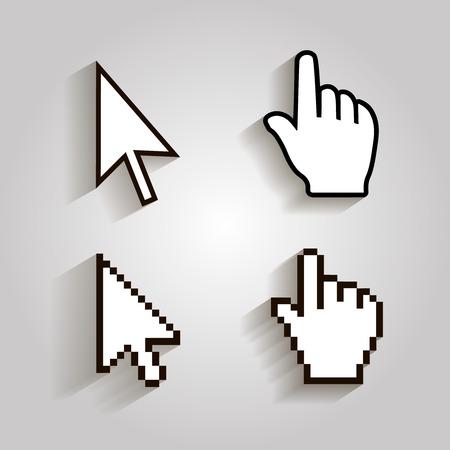 dedo: cursores do pixel ícones de seta mão do mouse. Vector illstration Ilustração