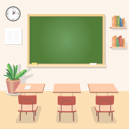 classroom chalkboard: School classroom with chalkboard and desks. Class for education, board, table and study, blackboard and lesson. Vector flat illustration