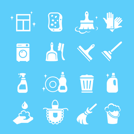 cleaning up: Cleaning  white Icons Vector set.  Hygiene tools signs or symbols