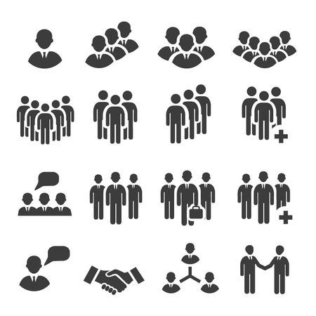 relaciones humanas: Multitud de personas en el equipo icono siluetas Vectores