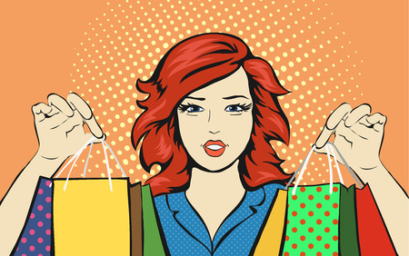 shopping malls: Shopping Woman with a sale bag  discounts pop art retro style. Vector advertising poster for stores or  malls