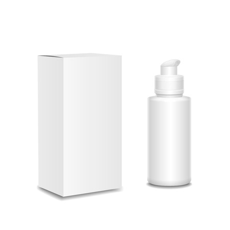 Witte cosmetica of medicijnen containers, plastic fles met een spray en lege doos Stockfoto