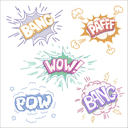 clash: Boom bang and wow. Comic book explosion and blast set color