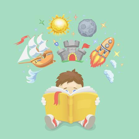 niños felices: concepto de la imaginación, el niño leyendo un libro, cohete de volar, barco, castillo y el planeta. ilustración
