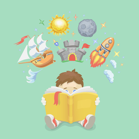 kids reading book: Imagination concept, boy reading a book, rocket flying out, ship, castle and planet. illustration