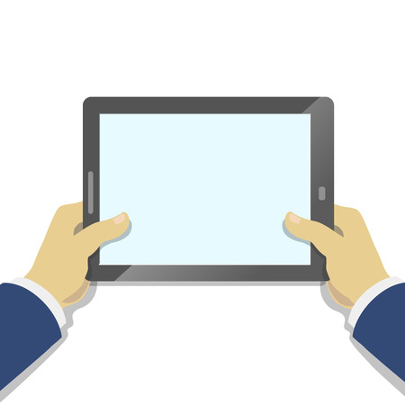 tablet pc in hand: Hand of Businessman holding tablet pc with blank screen. Flat style.