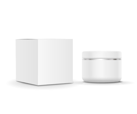 body dimensions: White blank cosmetic Cream tube and cardboard packaging. illustration