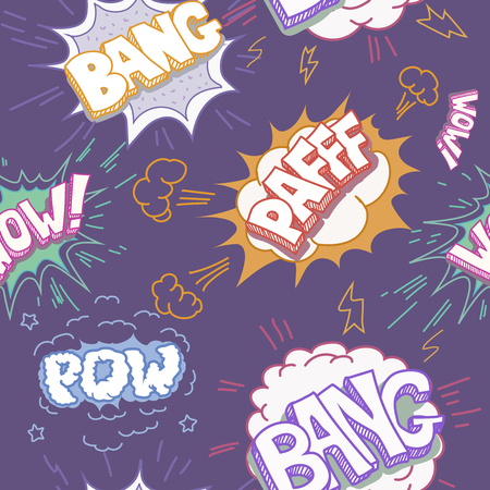 sounds: Seamless Comic Book Explosion, Bombs And Blast Set. bubbles for speech, different sounds and arrows