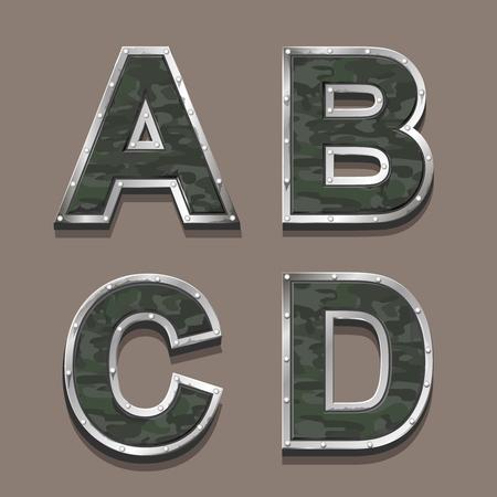 letter word: Military letters alphabet. Steel Metallic khaki Font symbols A B C D Stock Photo