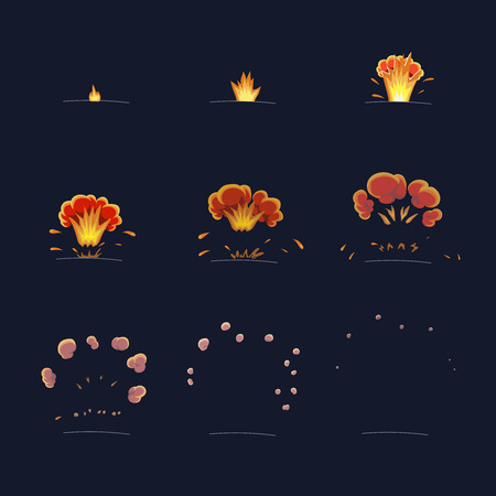 Explode effect animation Flame and smoke. Cartoon explosion frames  Vector Illustration