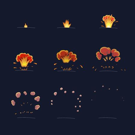 Ontploffen effect animatie Vlam en rook. explosie cartoon frames Vector Stock Illustratie