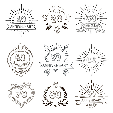60 70: Anniversary birthdays festive emblems icons set for personalized gifts cards  and presents hipster hand drawn vintage vector illustration Illustration