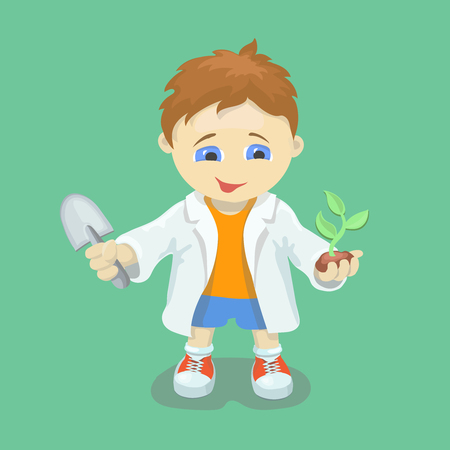 biologist: Boy doing biological experiments. Young scientist. Kid holding green sprout and trowel in hands. Stock Photo