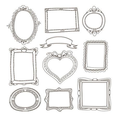 bucle: Conjunto de bastidores del doodle en el fondo blanco