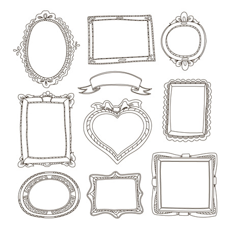 loops: Set of doodle frames on white background Stock Photo