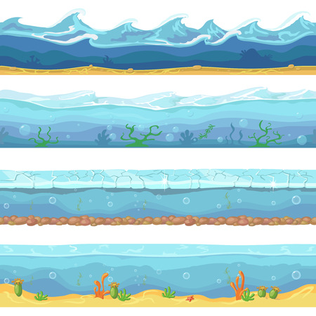 Water waves or ocean, sea seamless backgrounds set for ui game design in cartoon style. Graphic Interface. Nature storm flow illustration