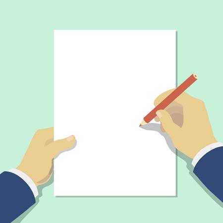 persona escribiendo: mano que sostiene el lápiz con la hoja de papel en blanco. Ilustración.
