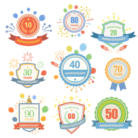 Anniversary celebration emblems set with ribbons isolated vector illustration