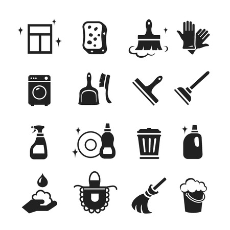 scrubbing up: Cleaning Icons set. Hygiene tools signs or symbols